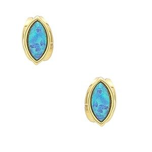 Gorjana Rumi 18k Gold Blue Opalite Stud Earrings